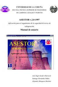 ASESTOR (Aplicación para el seguimiento de la seguridad de torres de refrigeración). Manual de Usuario