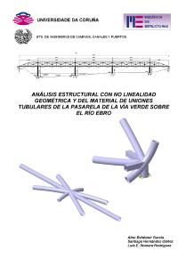 Análisis estructural con no linealidad geométrica y del material de uniones tubulares de la pasarela de la vía verde sobre el río Ebro
